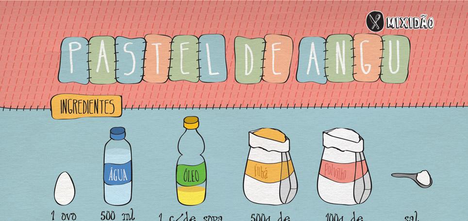 Receita ilustrada de Pastel de Angu. Petisco muito saboroso e combina com tudo. Ingredientes: Fubá, Polvilho, água, óleo, ovo e sal.