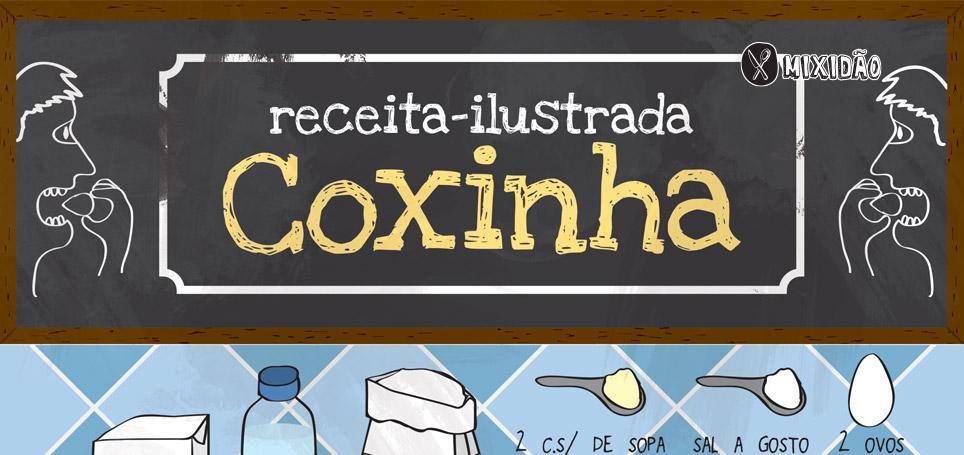 Infográfico receita de massa de coxinha. Aprenda a fazer uma deliciosa coxinha. Ingredientes: Leite, água, farinha, margarina, sal, colorau, caldo de galinha, farinha de rosca e ovo