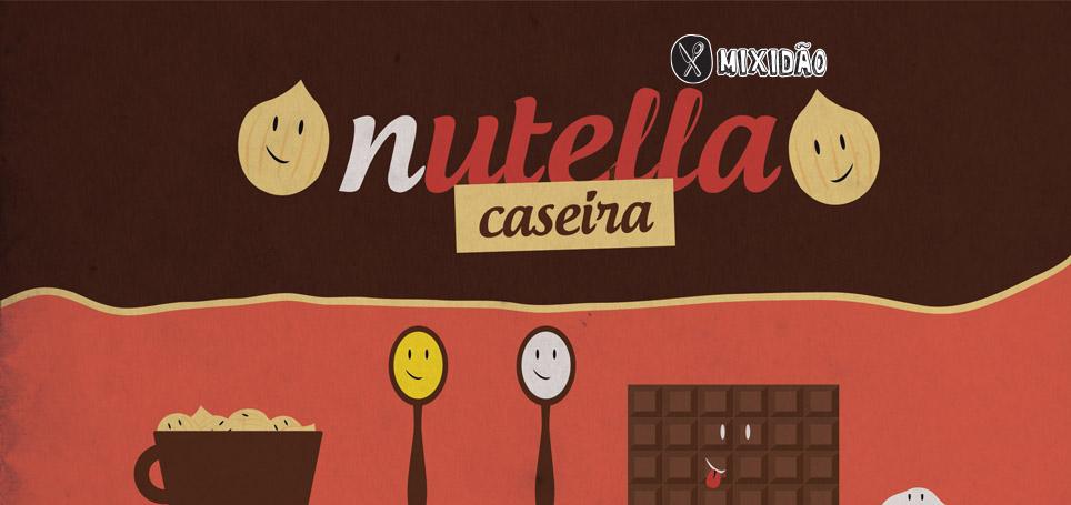 Receita-ilustrada de Nutella caseira. Muito fácil de preparar. Ingredientes: Avelã, óleo, açúcar, chocolate amargo e sal