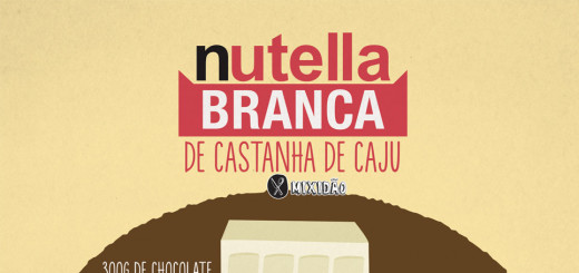 Receita ilustrada de Nutella branca com Castanha de Caju, um creme muito bom e rápido de fazer. Ingredientes: Chocolate branco, castanha de caju, coco ralado, essência de baunilha e óleo.