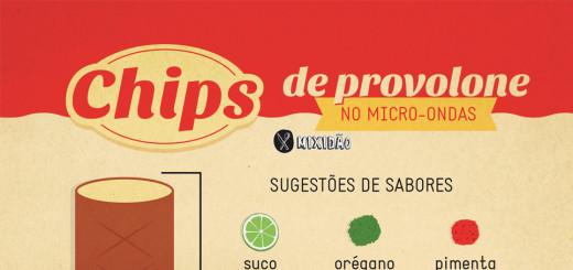 Receita ilustrada de Chips de Provolone feito no micro-ondas. Uma receita muito fácil de aperitivo. Ingredientes: Provolone. Se quiser pode acrescentar pimenta, orégano e outros temperos.