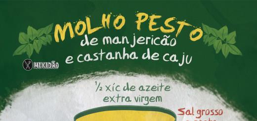 Receita-ilustrada de Molho ao Pesto de Manjericão e Castanha de Caju. Essa receita é muito fácil e rápida de preparar. Ingredientes: manjericão, azeite extra virgem, castanha de caju, alho, queijo parmesão e sal grosso