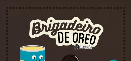Receita ilustrada de Brigadeiro de Oreo, receita fácil e muito saborosa, além de ser feita no micro-ondas. Ingredientes: Leite condensado, biscoito Oreo e manteiga.
