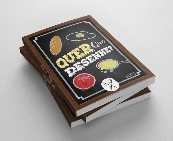 Capa do livro de gastronomia Quer que desenhe - Volume 2. Um livro 100% ilustrado