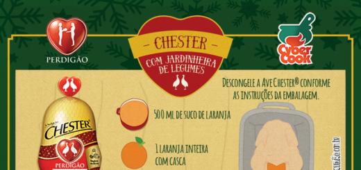 Receita ilustrada de Chester com jardineira de Legumes. Receita ótima para o natal, muito fácil de preparar. Ingredientes: Chester, suco de laranja, laranja, manteiga, algo, batata, uva passa, cenoura, azeitona e amêndoas.