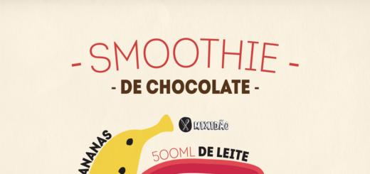 Receita ilustrada de Smoothie de Chocolate, muito refrescante e saudável, além de ser muito fácil e rápida de preparar. Ingredientes: banana, leite, chocolate e gelo.