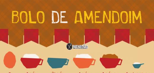 Receita ilustrada de Bolo de amendoim, uma receita muito fácil, rápida e saborosa. Combina muito bem com as festas juninas. Ingredientes: farinha de trigo, amendoim moído, água, açúcar, ovo e manteiga.