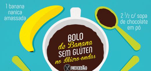 Receita ilustrada de Bolo de caneca de banana sem glúten. Uma receita fácil e rápida de preparar. Além de ser um bolo muito saboroso. Ingredientes: banana, chocolate, água, ovo e açúcar.