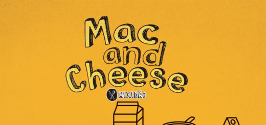 Receita ilustrada de Mac and Cheese, feito em uma panela, essa é uma receita muito simples e rápida de preparar. Ingredientes: macarrão joelho, leite, água, sal, queijo cheddar e manteiga.