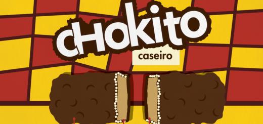 Receita ilustrada de Chokito caseiro, receita muito parecida com a original, muito saborosa. Ingredientes: leite condensado, açúcar, manteiga, bicarbonato de sódio, sal, flocos de arroz e chocolate.